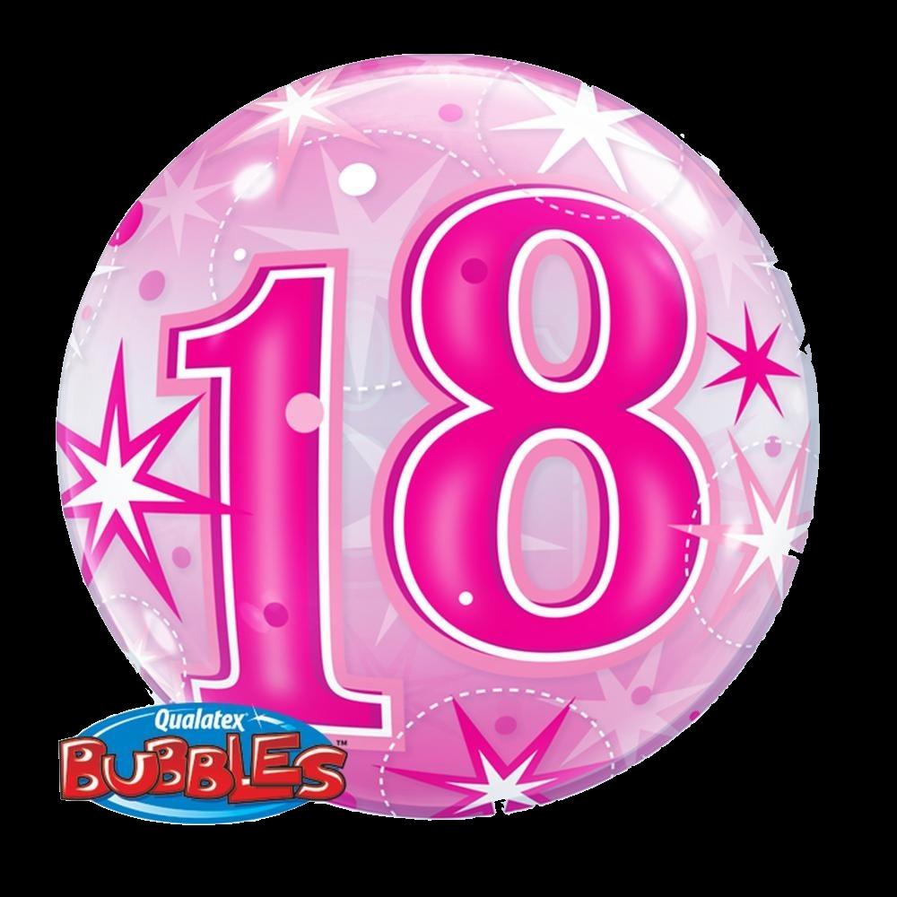 Pink Happy 18th Birthday Balloon: 18 Pink Starburst Sparkle